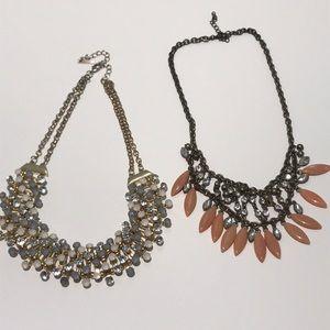 2 jewel statement necklaces